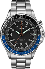 Timex Allied Three GMT Black Dial Stainless